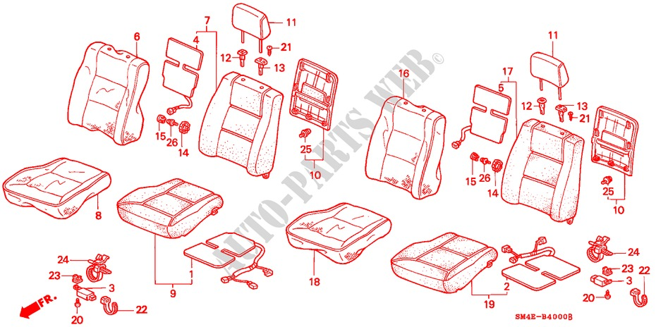Left Front Honda Genuine 77430-SB3-663ZB Seat Cushion Assembly