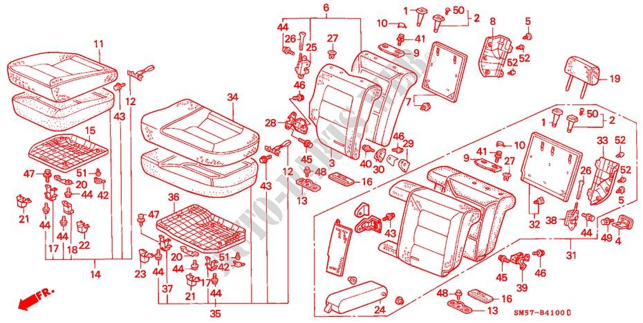 Right Rear Honda Genuine 82131-SM5-A02ZA Seat Cushion Trim Cover