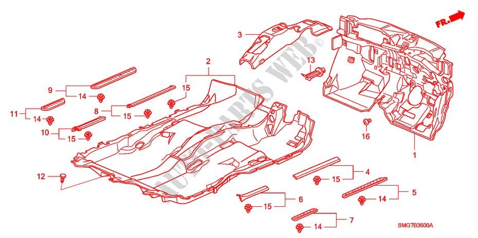 Floor Mat For Honda Cars Civic 2 2 Es 5 Doors 6 Speed Manual 2007   Honda Cars
