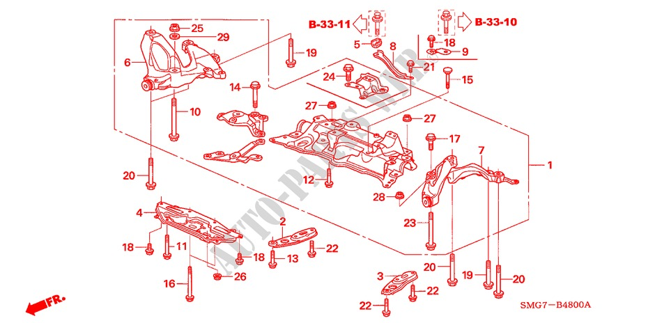 Front Sub Frame Body Parts 18 Ex 2007 Civic Honda Cars