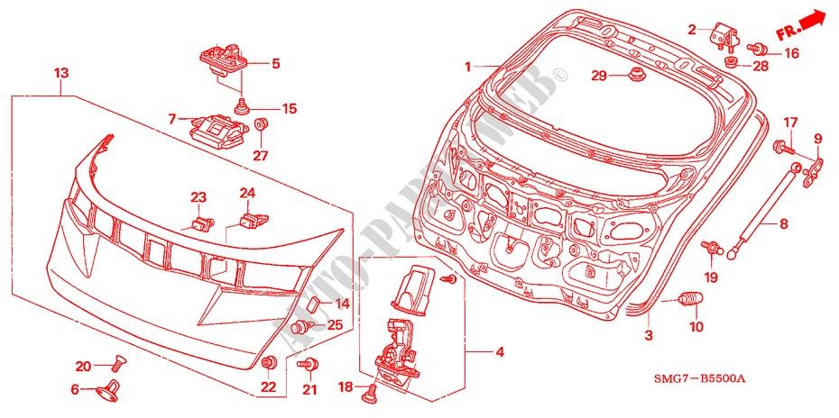 Tailgate For Honda Cars Civic 1 8 Es 5 Doors 6 Speed Manual 2007   Honda Cars