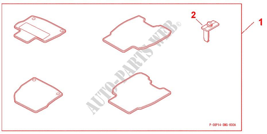 Floor Mat Standard Lh 5d Graphite Black For Honda Cars Civic 1 4 Sport 5 Doors 6 Speed Manual