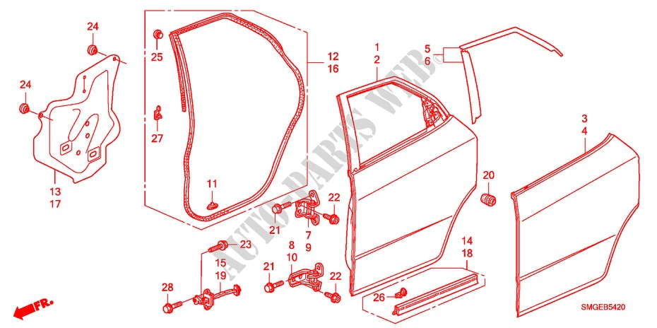 REAR DOOR PANELS for Honda Cars CIVIC 1.8 SPORT 5 Doors 6 speed manual 2010