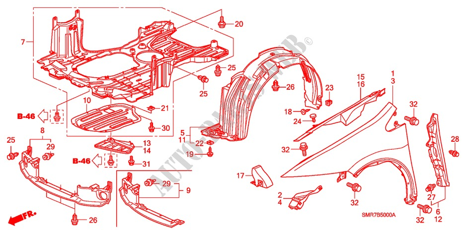 Front Fenders Body Parts 20 Type R 2009 Civic Honda Cars Manual Guide