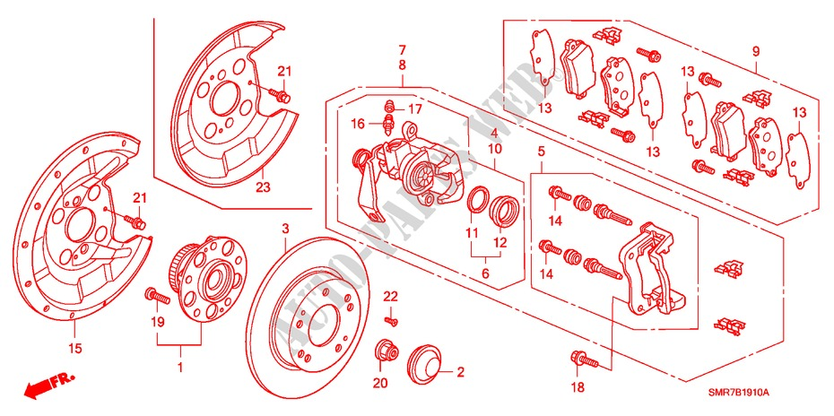Rear Brake For Honda Cars Civic 1 8 Base 3 Doors Intelligent Manual Transmission 2008   Honda