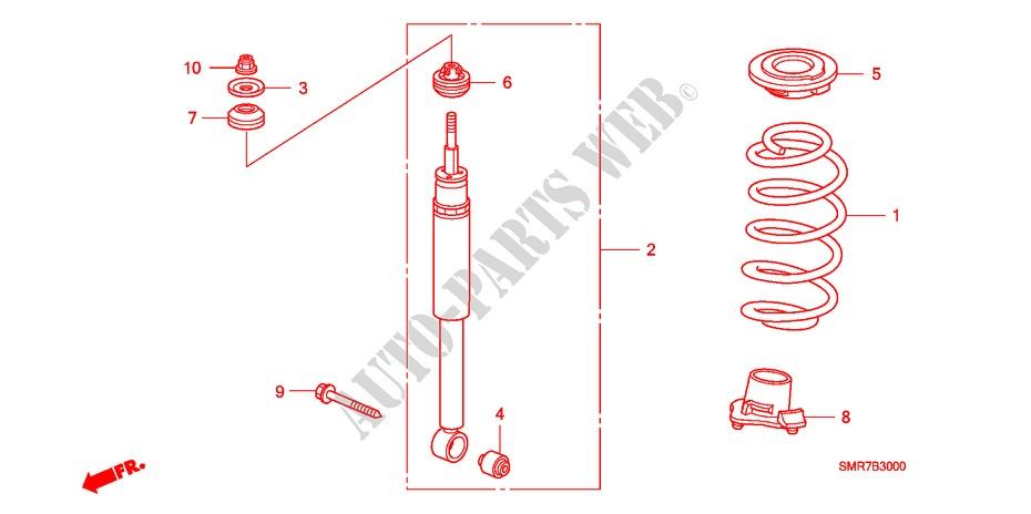 Rear Shock Absorber For Honda Cars Civic 2 0 Type R Plus 3 Doors 6 Speed Manual 2008   Honda