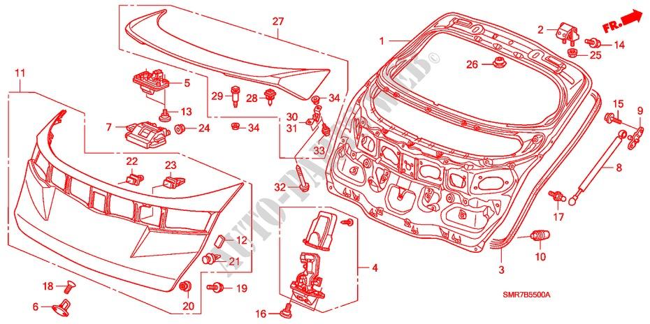 Tailgate Body Parts 20 Type R 2008 Civic Honda Cars