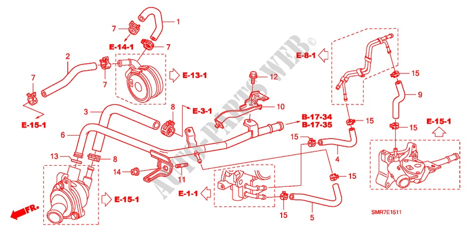 Water Hose  2 0l  For Honda Cars Civic 2 0 Type R 3 Doors 6 Speed Manual 2007   Honda Cars