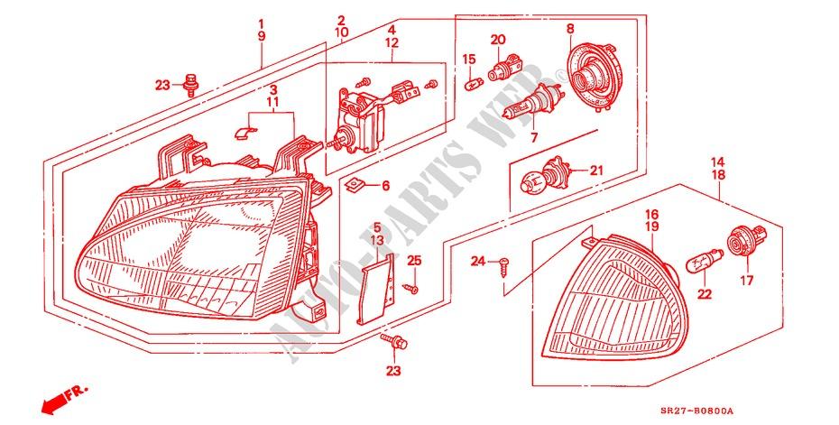 Headlight For Honda Cars Civic Crx Vti 2 Doors 5 Speed