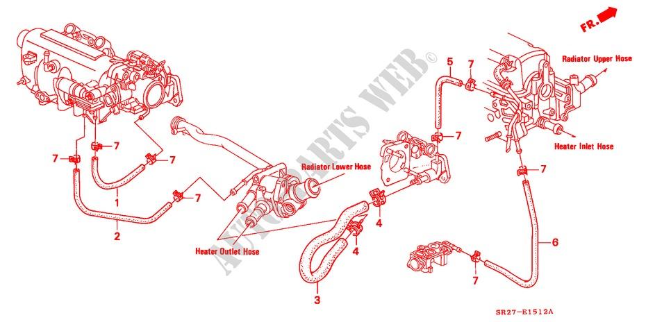 honda cars civic crx 1994 esi austria 5 speed manual engine water hose  (sohc)