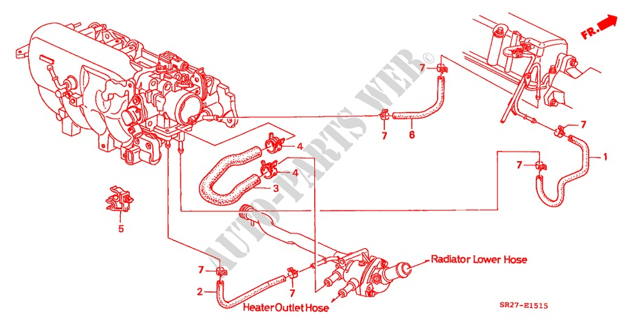 WATER HOSE (SOHC)('96 ) (AT) for Honda Cars CIVIC CRX ESI 2 Doors 4 speed automatic 1996