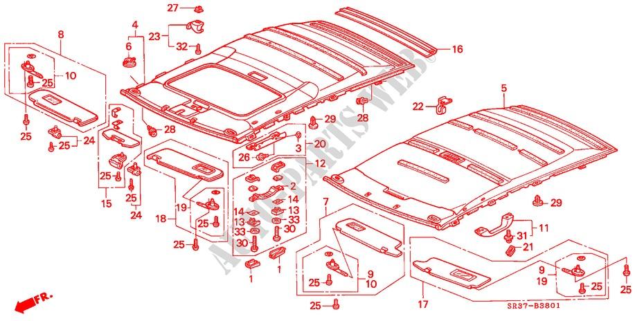 Acme Auto Headlining 1262-TIE1328 Red Replacement Headliner 1956 Oldsmobile 88, Super 88, 98 4 Door Sedan 7 Bows