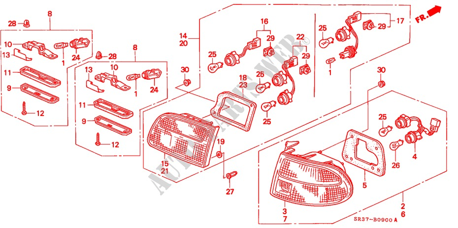 Genuine Honda Parts 33501-SR3-A01 Passenger Side Taillight Lens//Housing