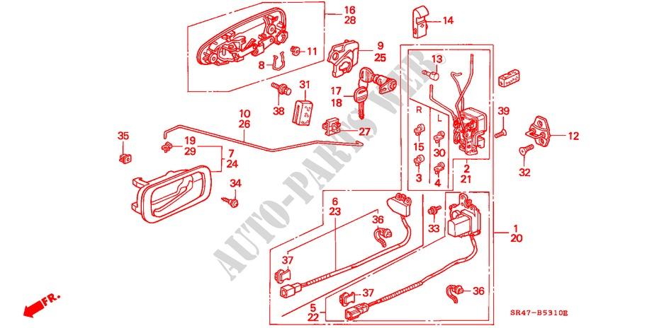Front Door Locks For Honda Cars Civic Vti 4 Doors 5 Speed