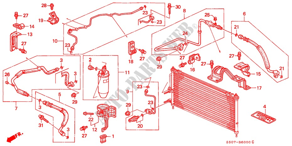AIR CONDITIONER (HOSES/PIPES)(1) for Honda Cars PRELUDE 2.0I 2 Doors 5 speed manual 1993