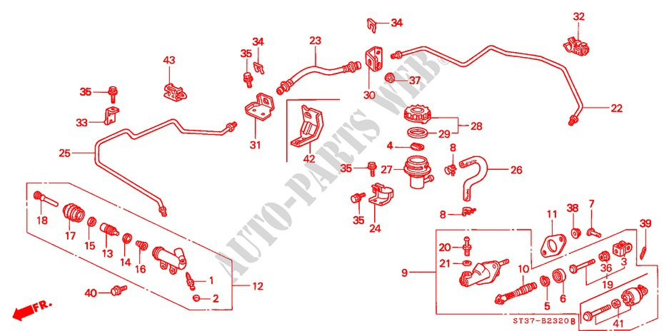 CLUTCH MASTER CYLINDER (LH) for Honda Cars CIVIC 1.6ILS 5 Doors 5 speed manual 1995