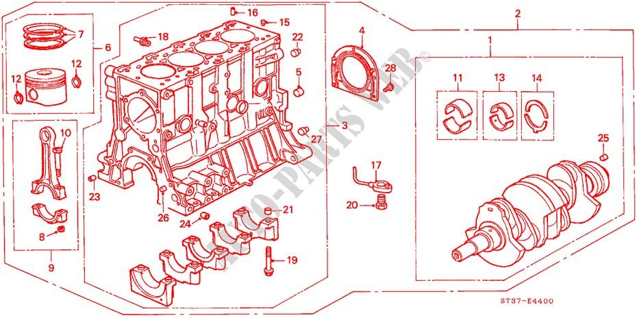 honda cars civic 1998 2 0itd 5 speed manual engine cylinder block/piston  (diesel