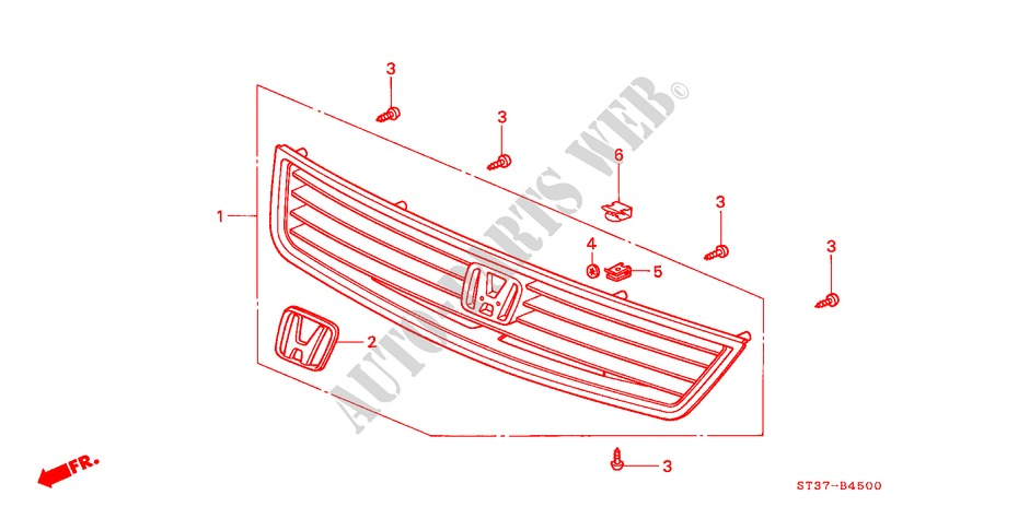 FRONT GRILLE ('95/'96) for Honda Cars CIVIC 1.6ILS 5 Doors 5 speed manual 1995