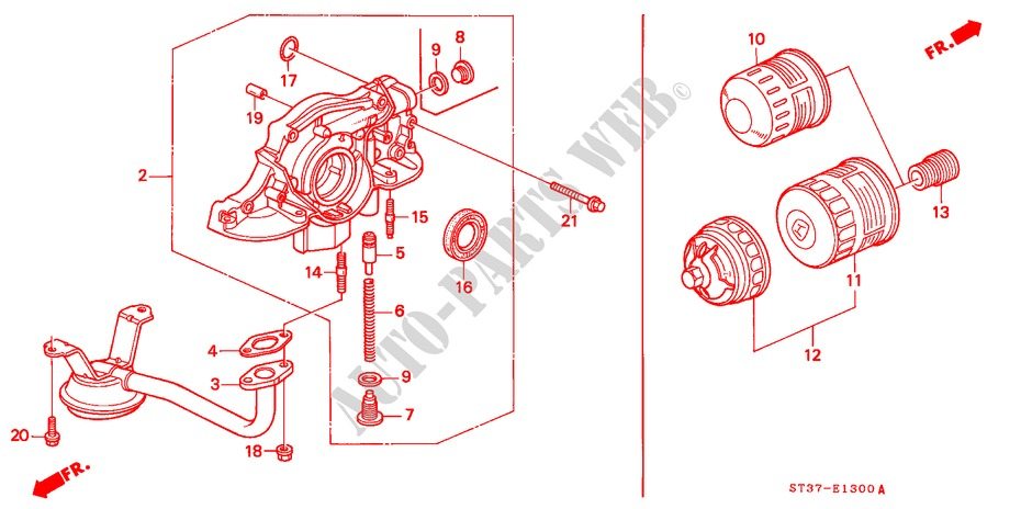 OIL PUMP/OIL STRAINER ('95/'96) for Honda Cars CIVIC 1.6ILS 5 Doors 5 speed manual 1995