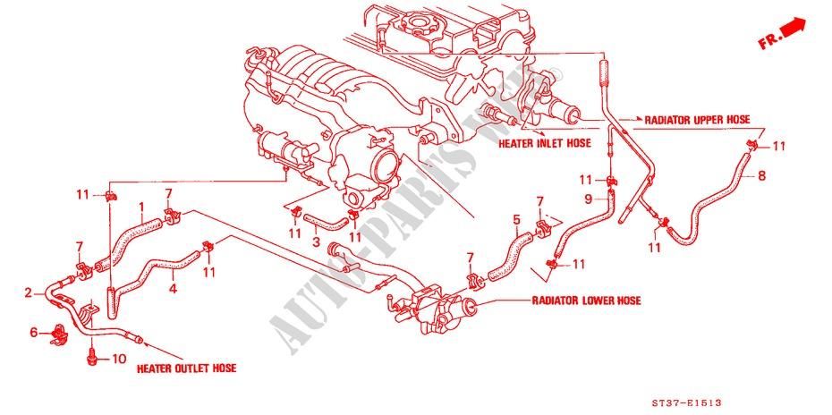 water hose dohc vtec engine 18vti 1997 civic honda cars honda 3 0 vtec diagram honda cars civic 1997 1 8vti 5 speed manual engine water hose (dohc vtec)
