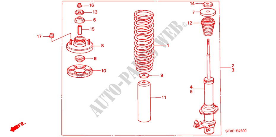 FRONT SHOCK ABSORBER for Honda Cars CIVIC 1.4IS       L.P.G. 5 Doors 5 speed manual 1999