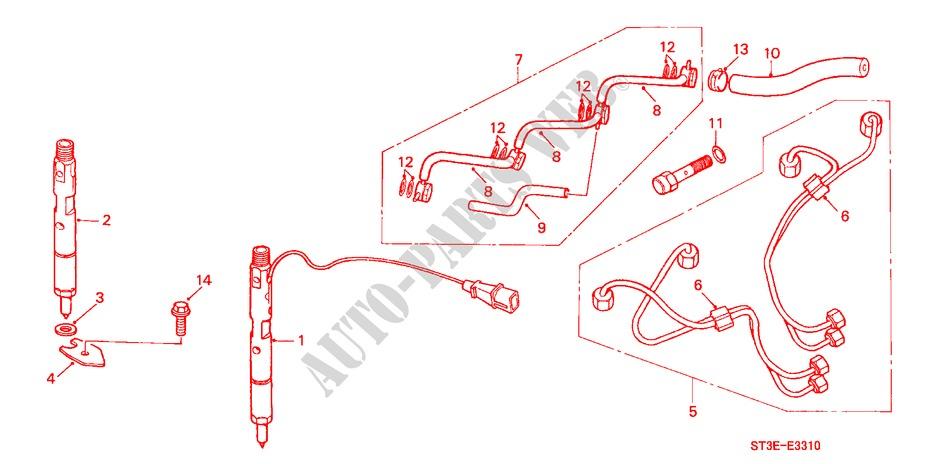 honda cars civic 2000 2 0itd 5 speed manual engine fuel injector (diesel)