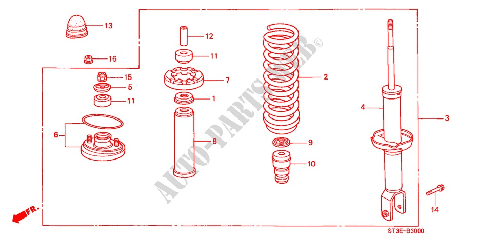 REAR SHOCK ABSORBER for Honda Cars CIVIC 1.4IS       L.P.G. 5 Doors 5 speed manual 1999