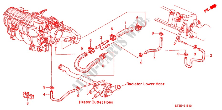 WATER HOSE (SOHC) for Honda Cars CIVIC 1.4IS       L.P.G. 5 Doors 5 speed manual 1999