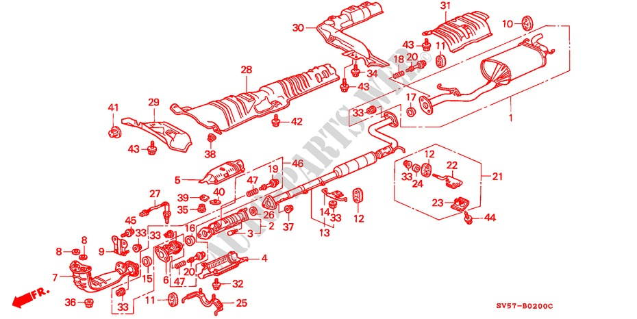 EXHAUST PIPE (E,G,S) for Honda Cars ACCORD AERODECK 2.2IES 5 Doors 5 speed manual 1994