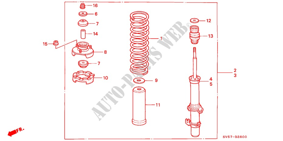 FRONT SHOCK ABSORBER for Honda Cars ACCORD AERODECK 2.2IES 5 Doors 5 speed manual 1994