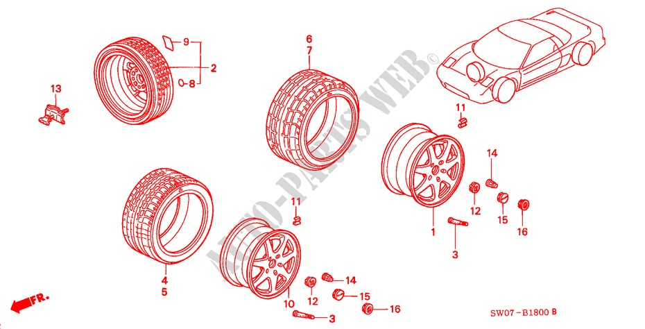 TIRE/WHEEL DISK for Honda Cars NSX NSX 2 Doors 4 speed automatic 1997