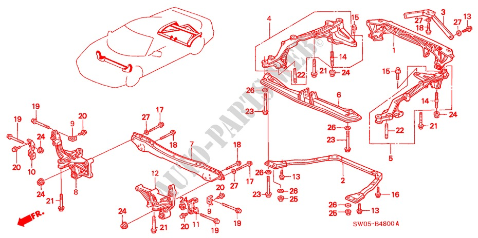CROSS BEAM for Honda Cars NSX NSX-T 2 Doors 4 speed automatic 2003