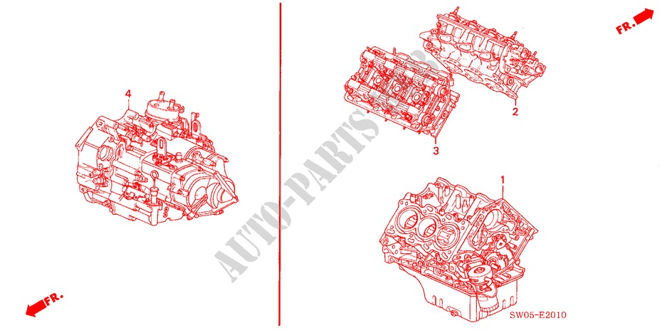 ENGINE ASSY./TRANSMISSION  ASSY. for Honda Cars NSX NSX-T 2 Doors 4 speed automatic 2003