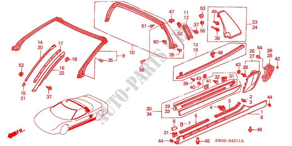 MOLDING (NSX T) for Honda Cars NSX NSX-T 2 Doors 4 speed automatic 2003