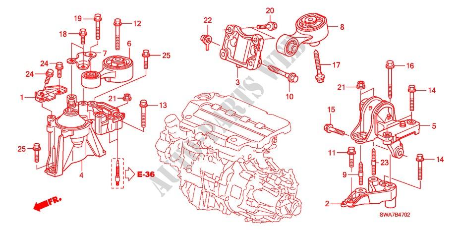 ENGINE MOUNTS DIESEL BODY PARTS 22 EX 2007 CR V I CTDI Honda cars ...