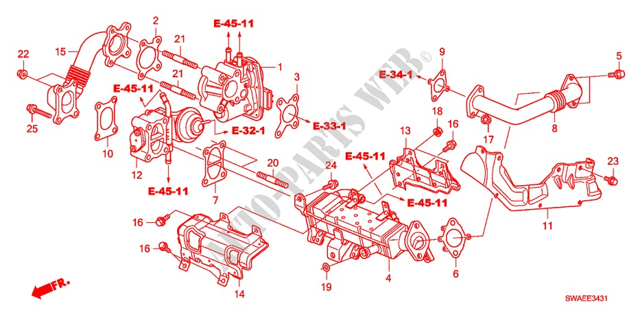 egr valve(diesel)(\u002710) for honda cars cr v i dtec 2 2 es 5 doors 6 Honda Electrical Schematic