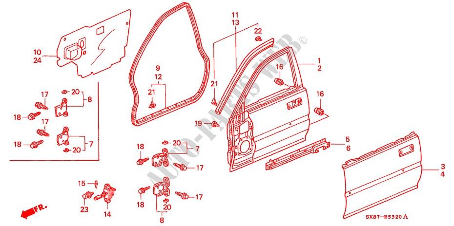 FRONT DOOR PANELS for Honda Cars CITY EXI-S 4 Doors 5 speed