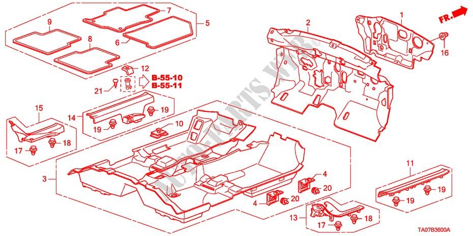 Honda Genuine 83604-TA0-A01ZD Floor Mat