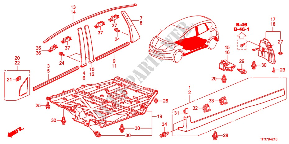 MOLDING/PROTECTOR for Honda Cars JAZZ 1.4LSSH 5 Doors ... on