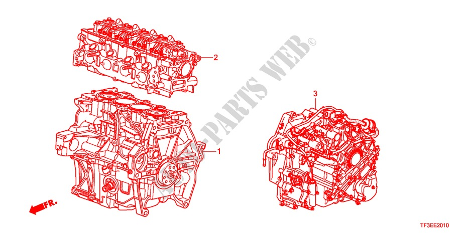 ENGINE ASSY./TRANSMISSION  ASSY. for Honda Cars JAZZ 1.4ES 5 Doors 5 speed manual 2012