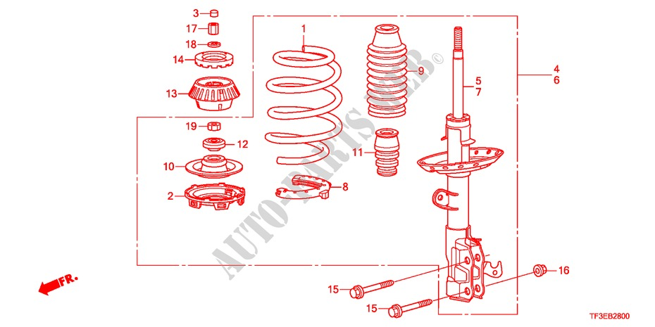 FRONT SHOCK ABSORBER for Honda Cars JAZZ 1.4ES 5 Doors 5 speed manual 2012
