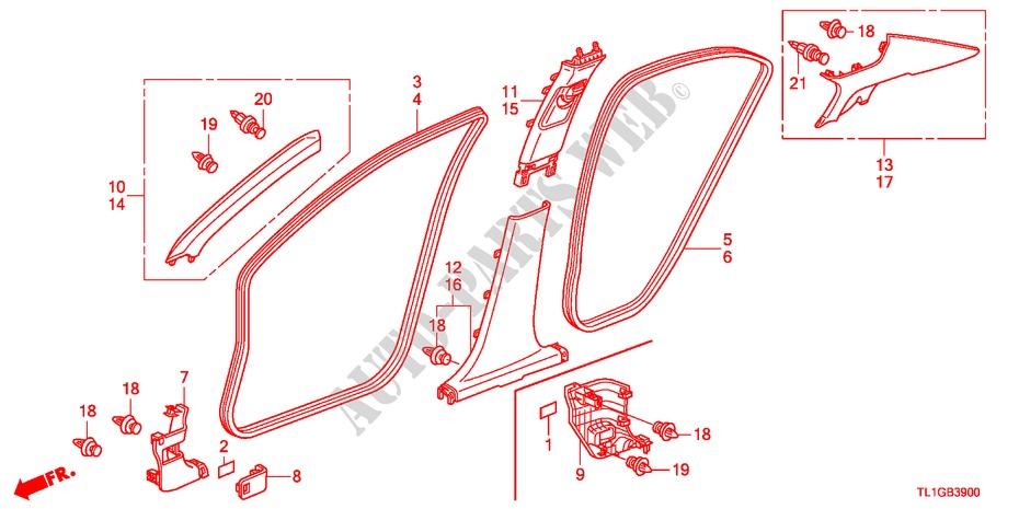 Genuine Honda 83110-TA0-A01ZB Cowl Side Lining