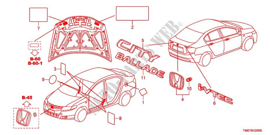 Emblems  Caution Labels For Honda Cars City Ex 4 Doors 5