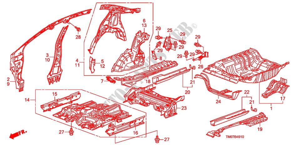 Floor  Inner Panels For Honda Cars City Lx 4 Doors 5 Speed