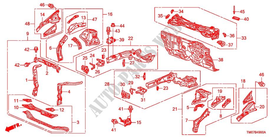 Front Bulkhead Dashboard Body Parts Ex 2009 City Honda