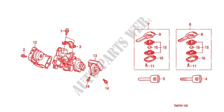 Key Cylinder Components For Honda Cars City Ex 4 Doors 5