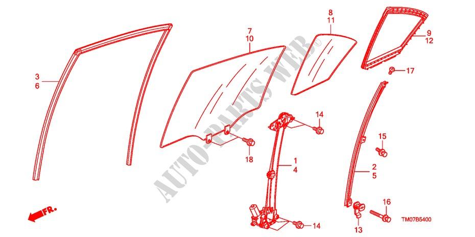 Rear Door Glass  Regulator For Honda Cars City Ex 4 Doors 5