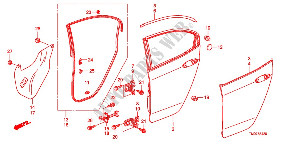 Rear Door Panel For Honda Cars City Ex 4 Doors 5 Speed