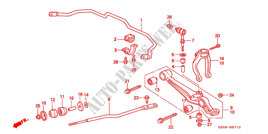 FRONT LOWER ARM for Honda Cars PRELUDE 2.0I 2 Doors 5 speed manual 1998