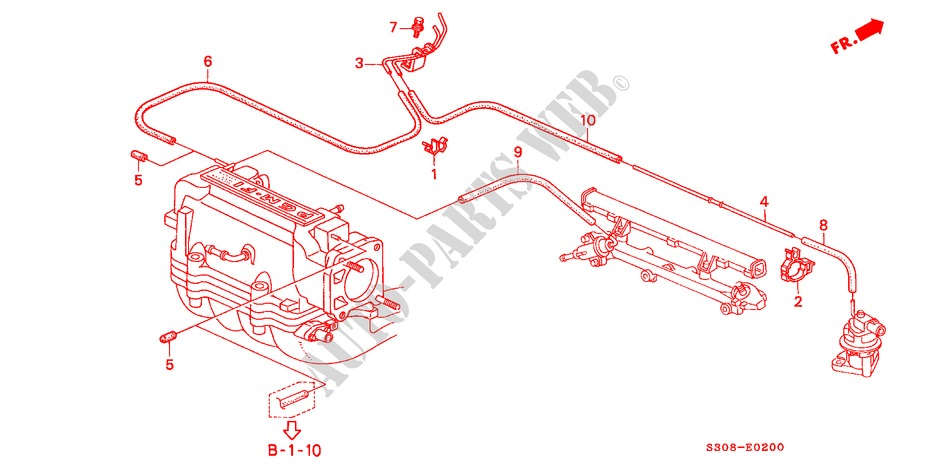 INSTALL PIPE/TUBING(SOHC) for Honda Cars PRELUDE 2.0I 2 Doors 5 speed manual 1998